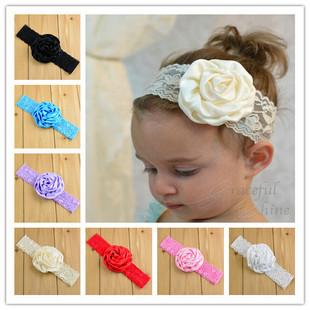 Baby Girls Lace Rose Flower Wide Band Hairband Soft Elastic Headband Hair Accessory(China (Mainland))