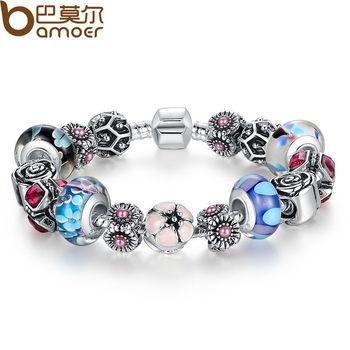 Bamoer серебряный оригинальный цветок шарм браслет для женщин с изысканный стекло ...