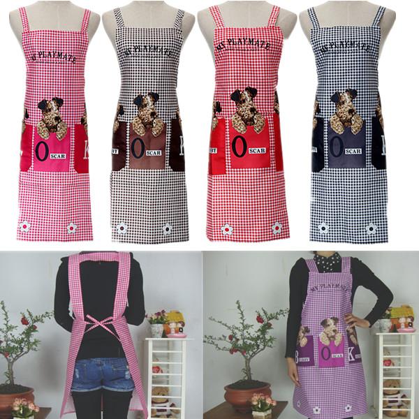 Wholesale Unisex Cute Dogs Checked Pattern Home Kitchen Bib Apron With 2 Patch Pockets Women Kitchen Baking Apron(China (Mainland))