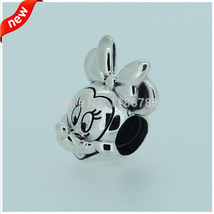 Mickey Minnie Silver Charms DIY Fits For Pandora Bracelets 100 925 Sterling Silver Fashion Jewelry
