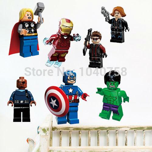 lego film avengers muurstickers stickers voor babykamer jongen kamer ...