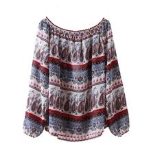 Mujeres blusa de la gasa 2015 nueva moda de manga larga de bohemia Tops Hippie estilo camisa de la blusa(China (Mainland))