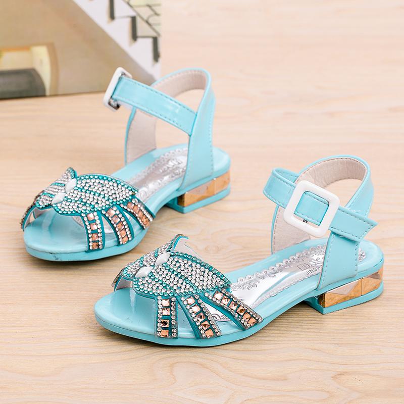 Дети девочки сандалии лето полный горный хрусталь открытый носок принцесса обувь высокая туфли на высоком каблуке обувь бант бабочка сандалии