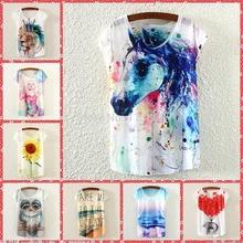 2015 new hot tees algodão de manga curta t-shirt mulheres / girls tshirt ocasional dos desenhos animados / animal print t camisa 21 cor navio livre(China (Mainland))