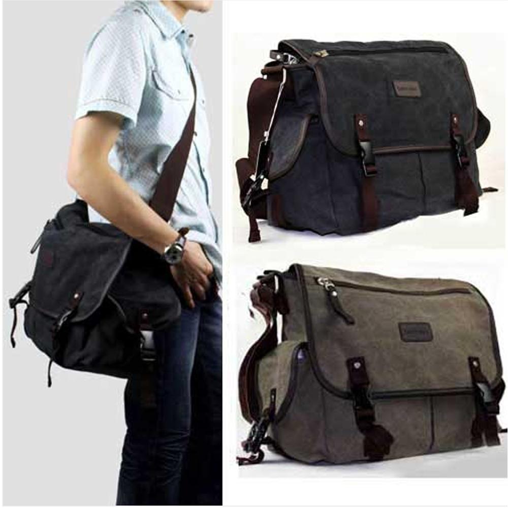 New High Quality Vintage Men's Crossbody Sholder Bag Canvas Leather Satchel School Military Messenger Bag Travel Bag F50M013#M1D(China (Mainland))