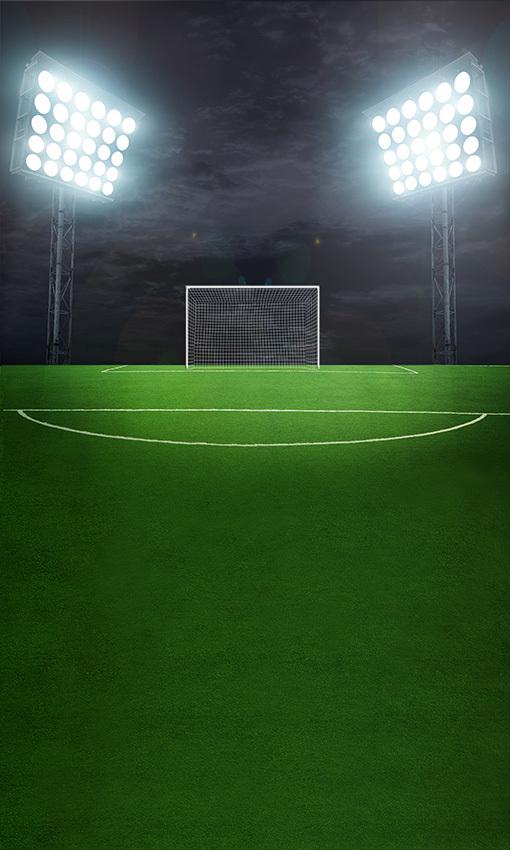 8x15FT Green Grass Football Soccer Court Field Dark Night Spotlight Goal Photography Studio Backdrops Background Vinyl 5x10 8x12(China (Mainland))