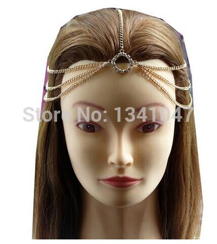 Fashion Queen Punk Goth Athena Chain Crown Hippie Headband Hair Head Wrap Wedding Headdress(China (Mainland))