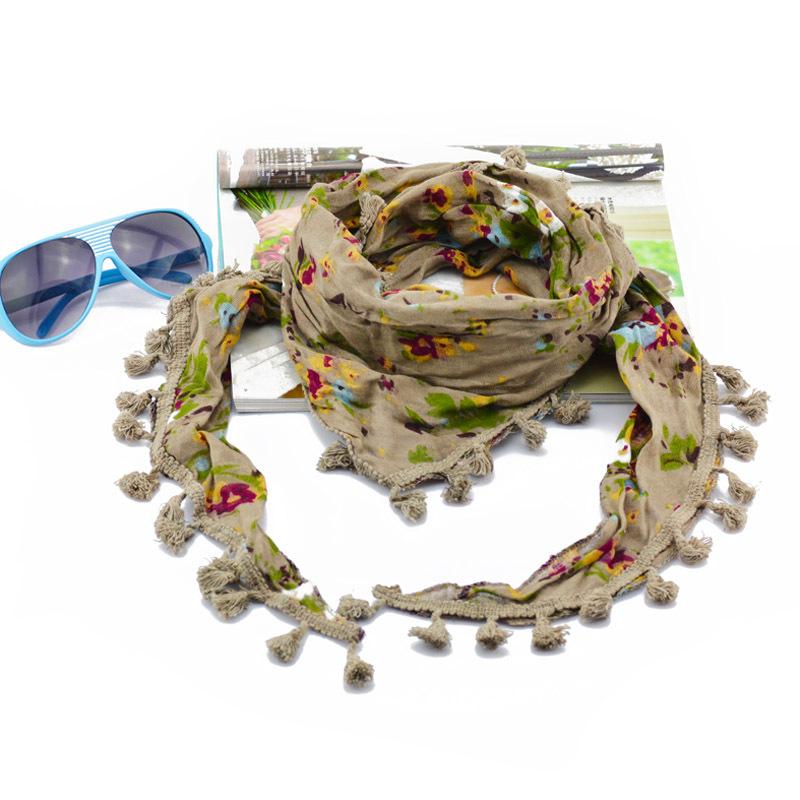 Women's cotton scarf fringe lace Fashion triangular Scarf plants and flowers Europe triangular scarf free shipping(China (Mainland))