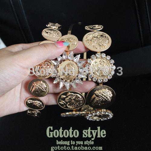 Fashion vintage royal hair bands fashion metal hair pin hair accessory female baroque flower hair band(China (Mainland))