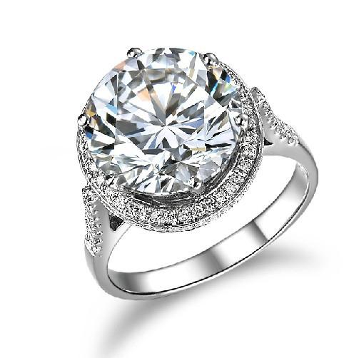 5 Carat Solid Gold 14K Luxury Big Stone Graceful Simulate Diamond Women Wedding Ring Love Promise Lady Jewelry Free Shipping(China (Mainland))