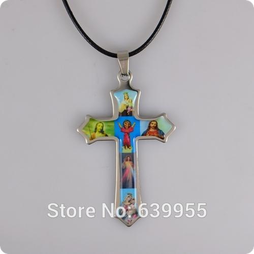 Holy Icon Cross stainless steel Pendant Necklace Jesus Virgin Mary Catholic Fashion Religious jewelry Wholesale