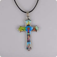Holy Icon Cross stainless steel Pendant Necklace Jesus Virgin Mary Catholic Fashion Religious jewelry Wholesale