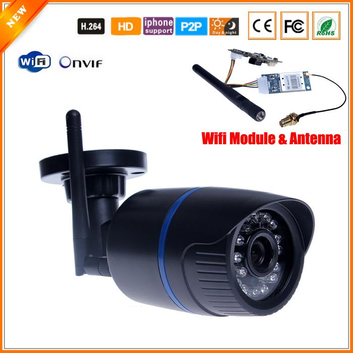 P2P ONVIF Megapixel 720P HD 802.11b/g/n Wireless Wired IP Camera WifI IR Outdoor Waterproof Camera IP ABS Plastic 24 IR LED(China (Mainland))