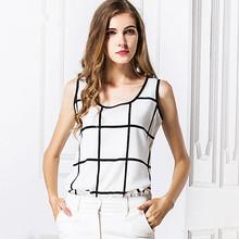 2015 New fashion Women Chiffon blouse Lady Black and white squares printing Top  plus size ly4(China (Mainland))
