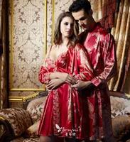 High quality new prospective pajamas female summer emulation silk sleep dress couples women's  men's long-sleeved two-piece