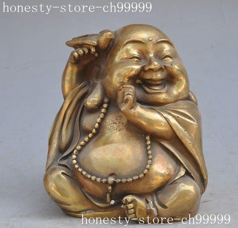 China Buddhism bronze copper bird Maitreya Buddha laugh lucky Auspicious Statue(China (Mainland))