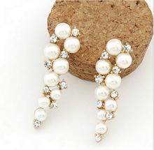 2015 New Brand Bijoux Fashion 18K Gold Charm Crystal Cubic Zircon Diamond Pearl Beads Drop Earrings Women's Jewelry Gift XY-E63(China (Mainland))