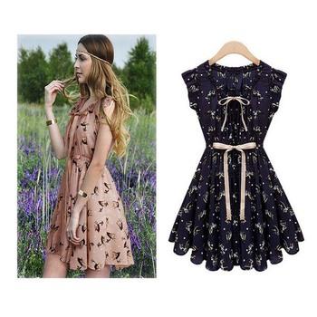 Feitong новинка женские элегантные цвета оленята печать платье старинные о длинным рукавом свободного покроя тонкий дизайн платье бренда платье