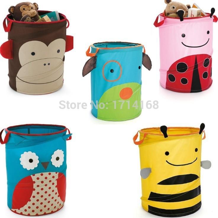 Children's Storage Bins Toys Storage Baskets Owl Bees Monkey Ladybug Folding Storage Boxes bucket Retail(China (Mainland))