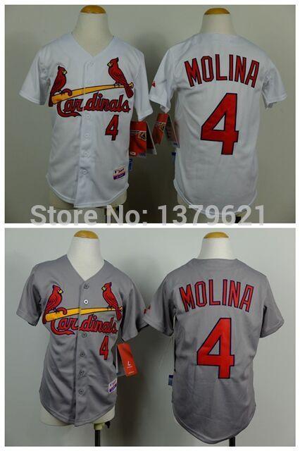 St. Louis 4 Yadier Molina White Gray Youth Baseball Jerseys Embroidery Logos Size:S-XL(China (Mainland))