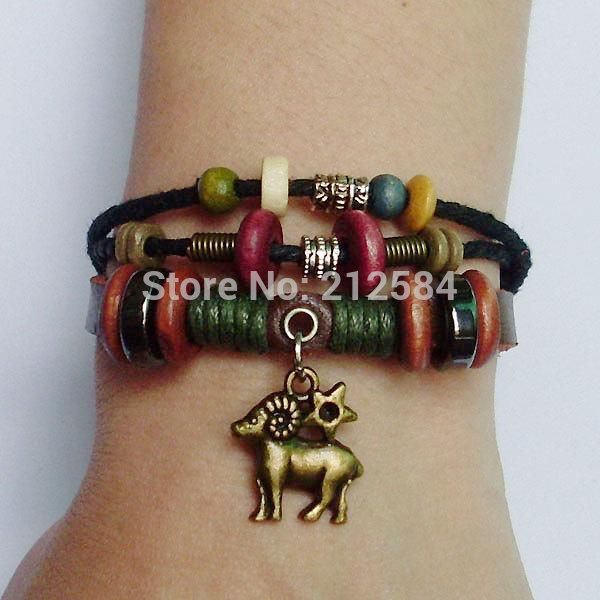 new design Zodiac Aries / Sheep Leather Charm Bracelet Women man's Wrap Bracelet Handmade Surfer Hemp Wristband Free Ship A1044(China (Mainland))