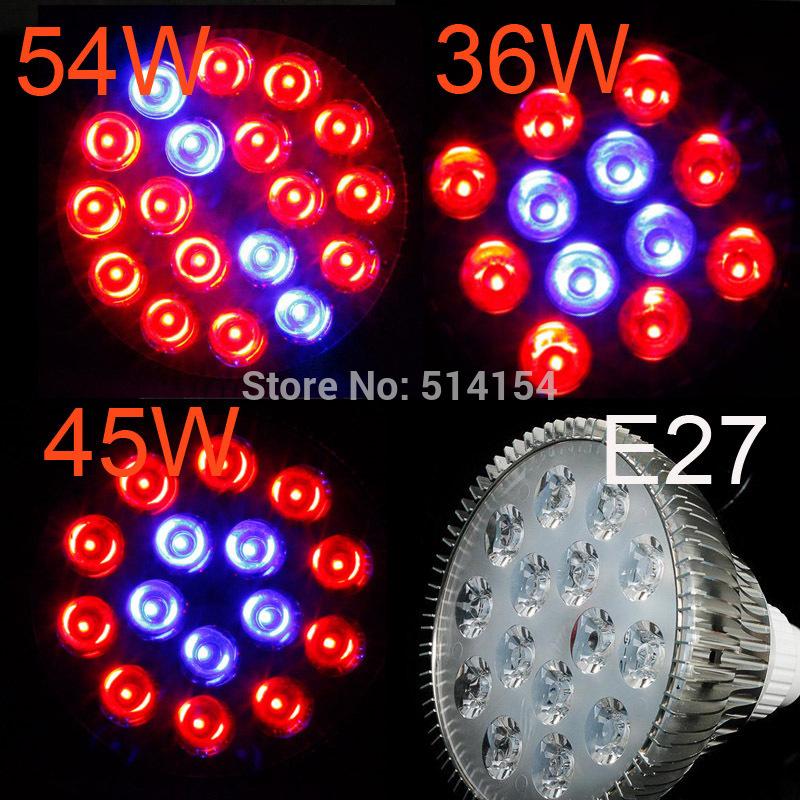 E27 54W/45W/36W Par38 18/15/12x3W LED planting spotlight plant Grow light Hydroponic bulb LED flowering and fruiting lamp(China (Mainland))