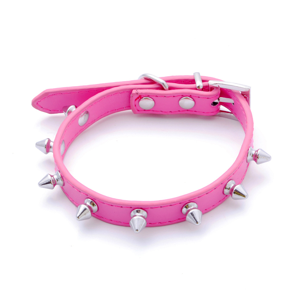 1 Row Cheap Spiked Studded Puppy Collar Gator Leather Pet Dog Cat Collar(China (Mainland))