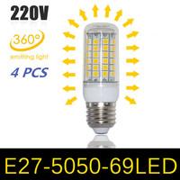 NEW Ultra Brightness LED lamps 15W E27 5050 69LEDs 220V 240V High Quality Chip 5050 SMD Corn LED Bulb Pendant light 4pcs/lot