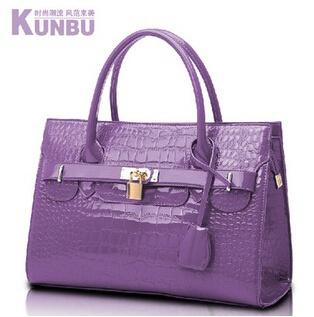 New women brand designer handbags shoulder bag woman tote  crocodile messenger bags satchel boston bags leather pink black 35cm(China (Mainland))