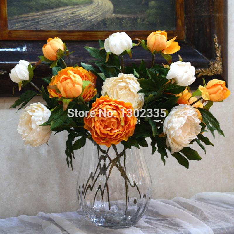 10pcs/Lot Southeast Asia Warm Wind Style Silk Thai Peony 2 Heads Centerpiece Decorations Artificial Flowers(China (Mainland))