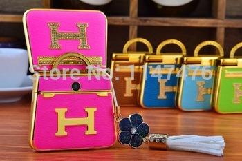 Free shipping! Low price mini Luxury fashion lady's and girl's handbag flip dual sim cards mobile phone H58,5 nice colors!(China (Mainland))