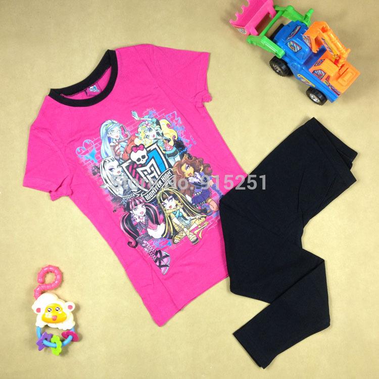 2015 spring summer 6-9 year girls monster high sleep set Pajamas set sleepwear girl soft homewear cartoon costumes kids(China (Mainland))