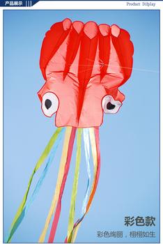 [LUNA KITE] Promotion Huge 4m 13FT Red Octopus Kite Outdoor beach toys amazing Single line soft Kite 30M Line
