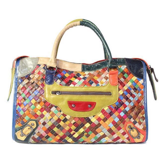 100% genuine leather handbag Unique sheepskin woven shoulder his female bag Free shipping(China (Mainland))