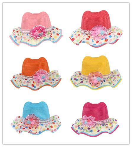 3 Pcs/bag Cute Kids Wavy Edge Hat Summer Beach Straw Sun Hats for Girls Chapeu Feminino Children Visor Caps Free Shipping EUU(China (Mainland))