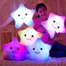 Pink/ White/ White Smiling Star Cushion Pillows 7 Flashing LED Light Plush Battery Powered Pillow Free Shipping(China (Mainland))