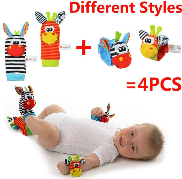 Infantil chocalho do bebê brinquedos 2015 new High Contrast jardim Bug Wrist chocalhos e pé meias musical toy presente para o bebê 4 pçs/lote = 2 pcs(China (Mainland))