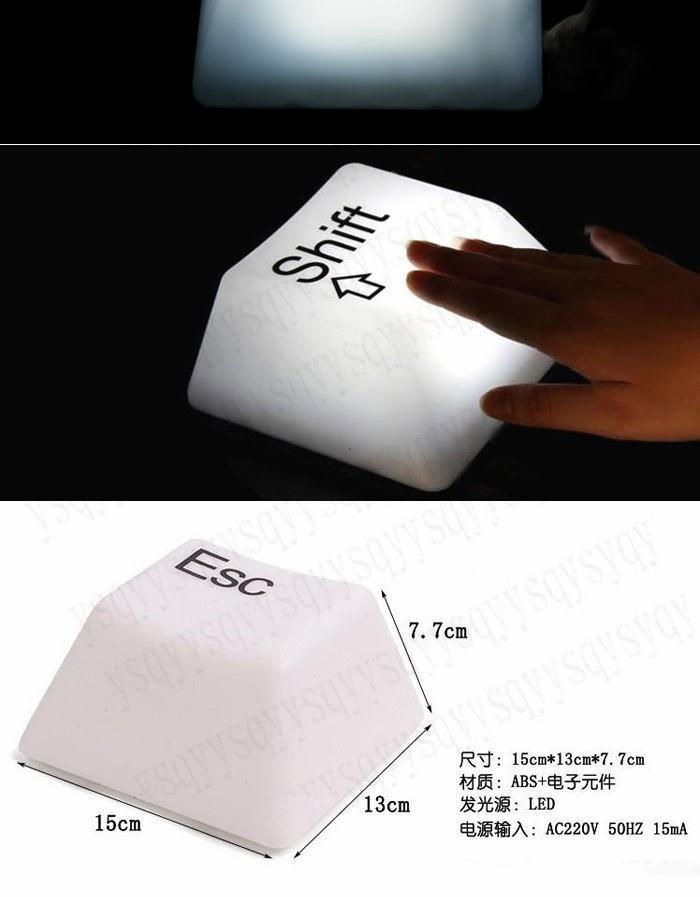 Chic White Shift Ctrl Esc Del LED Keyboard Desk Lamp Light New Design Perfect Gift SB267 CL(China (Mainland))