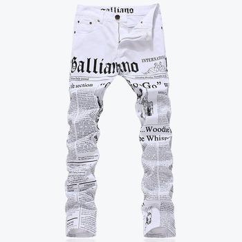 Мужская мода уменьшают подходящую письма бумага для печать джинсы мужской Большой ...