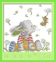 Wholesale Needlework,Stitch,DIY 14CT DMC Cross Stitch,Sets For Embroidery Kits,The Patch Rabbit (2) Patterns Cross-Stitching