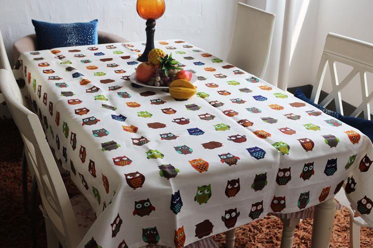 High Grade Tablecloth Cute Cartoon Toalha De Mesa Small Owl Pattern Manteles Para Mesa Table Cloth Modern Style Fluid Manteles(China (Mainland))