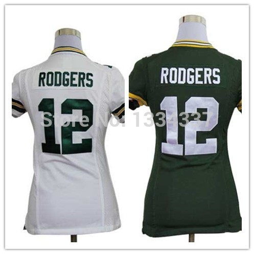 Wholesale 12 Aaron Rodgers White/Green Authentic Embroidery Logos Women Football Jerseys Size:S-XXL(China (Mainland))