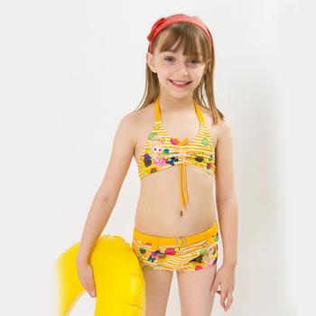 hiheart 2015 high quality baby girl bikini cartoon print cute baby