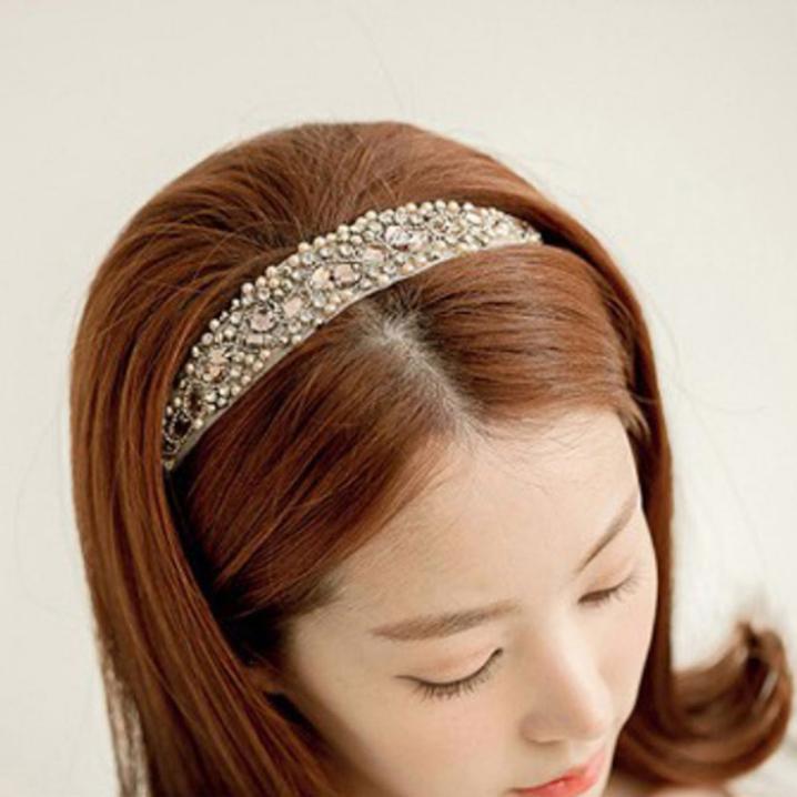 Essential New 2015 Korean Style Women Jewelry Crystal Beads Hair accessories Headbands Pearl Wedding Hair Jewelry