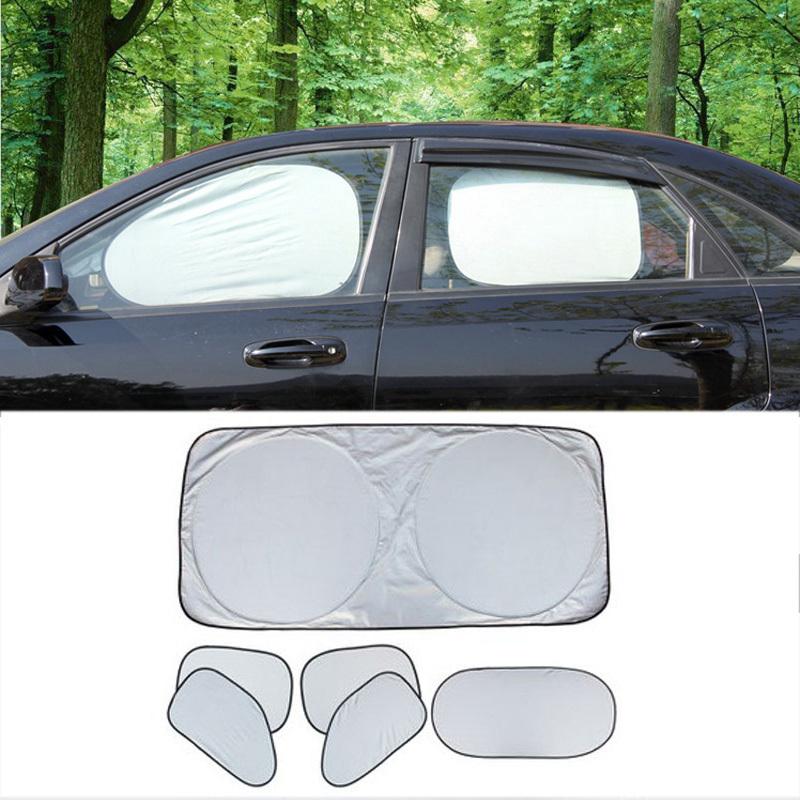6pcs/set Brand New Folding Silvering Car Window Sun Shade Visor Hot Sale UV Reflective Insulation Protect Car Sunshade Covers(China (Mainland))