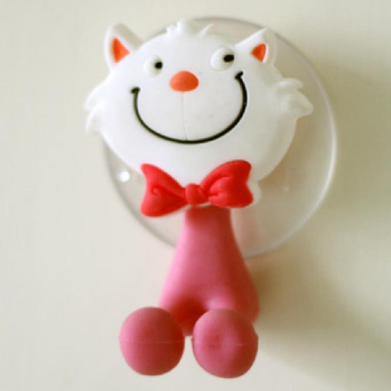porte manteau muraux Cartoon cat bathroom wall suction toothbrush Hooks coat hanger gancho 1aporte manteau muraux(China (Mainland))