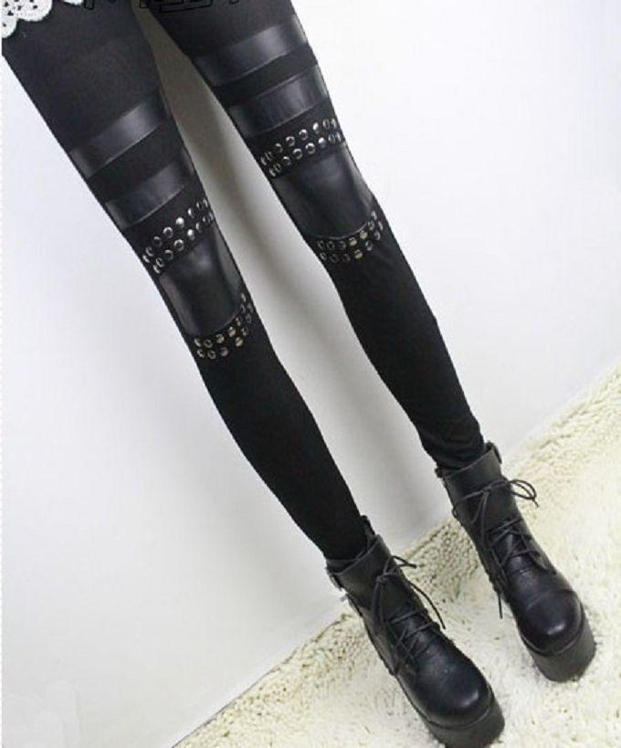 Горячих женщин черный заклепки кожа шить хлопок тонкий дамы колено патчи леггинсы #68802