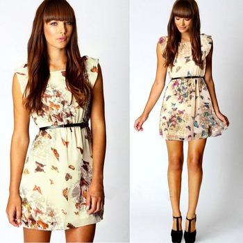 Мини платье Feitong новая женская мода распечатать цветочные бабочка ну вечеринку свободного покроя шифон Большой размер с поясом бесплатная доставка