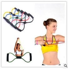 Free Shipping Figure 8 shape pull rope Yoga Pilates Stretch Resistance Band Exercise Fitness Training#2066
