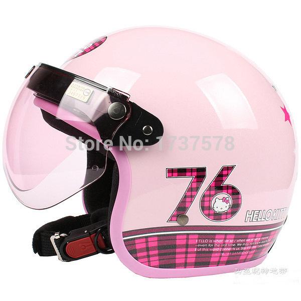 "C.47 HOT Taiwan "" EVO "" Motorcycle Helmet Open Face Scooter Motocross "" Hello Kitty 76 "" Bright Pink Helmet & UV ""W"" Lens Adult(China (Mainland))"